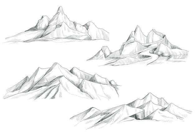손 그리기 산 풍경 세트 스케치 디자인 무료 벡터