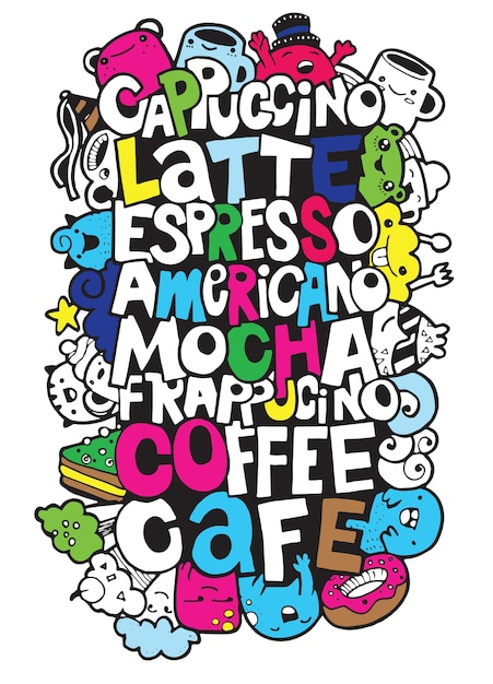 Hand drawing names of popular coffee drinks with monsters Premium Vector