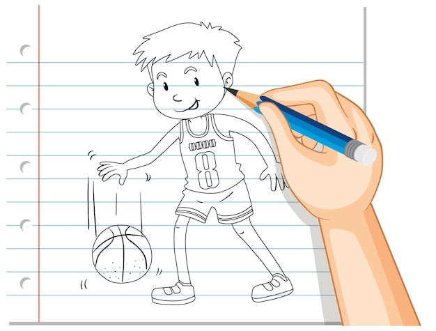 バスケットボール選手の手描き 無料ベクター
