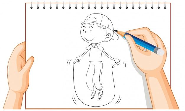 Рука рисунок мальчика прыжки через скакалку Бесплатные векторы
