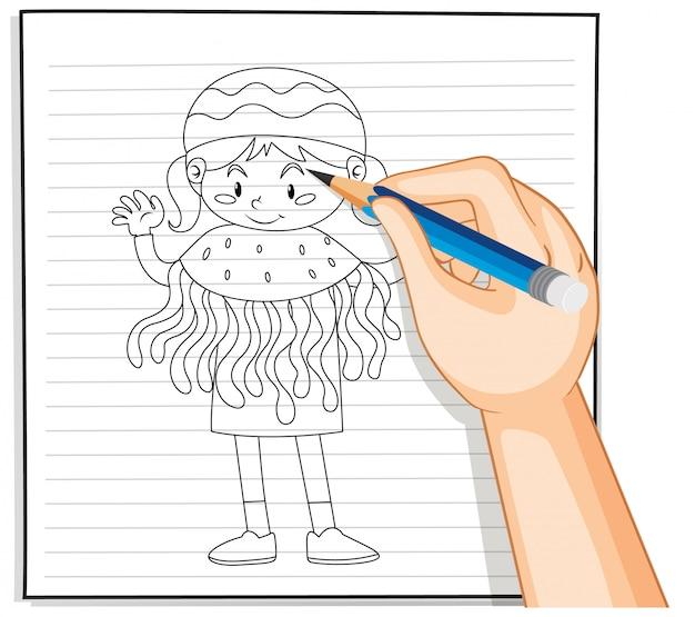 해파리 의상 개요에서 여자의 손 그리기 무료 벡터
