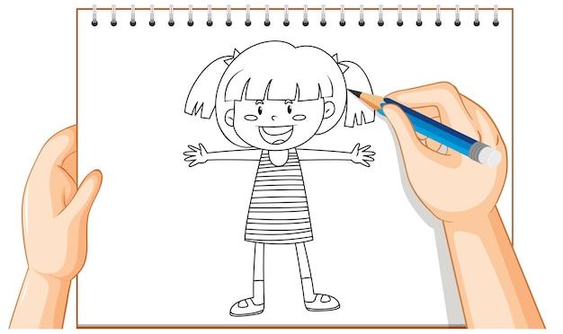 幸せな女の子のアウトラインの手描き 無料ベクター
