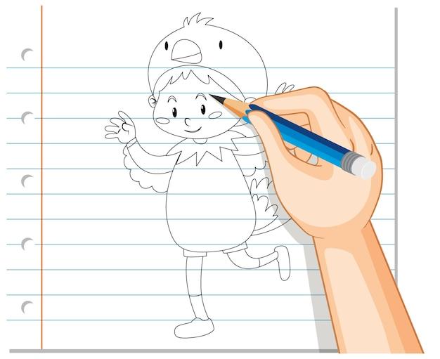 鶏の衣装の概要で子供の手描き 無料ベクター