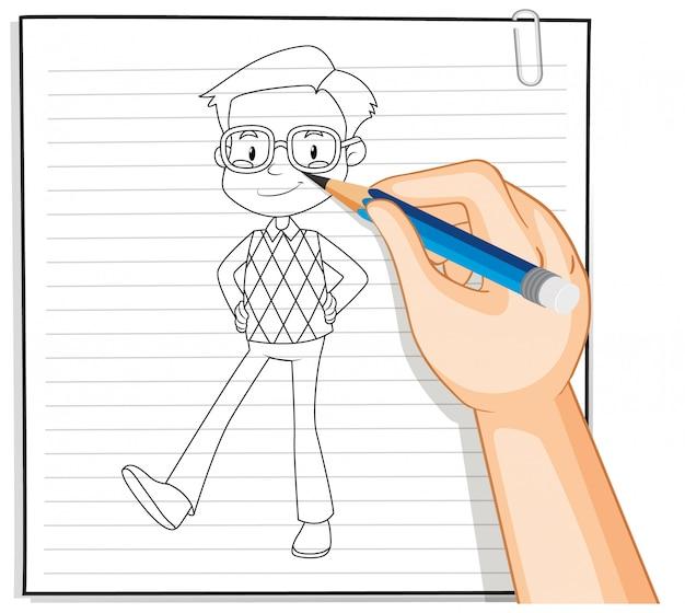 手描きのオタク少年漫画の 無料ベクター