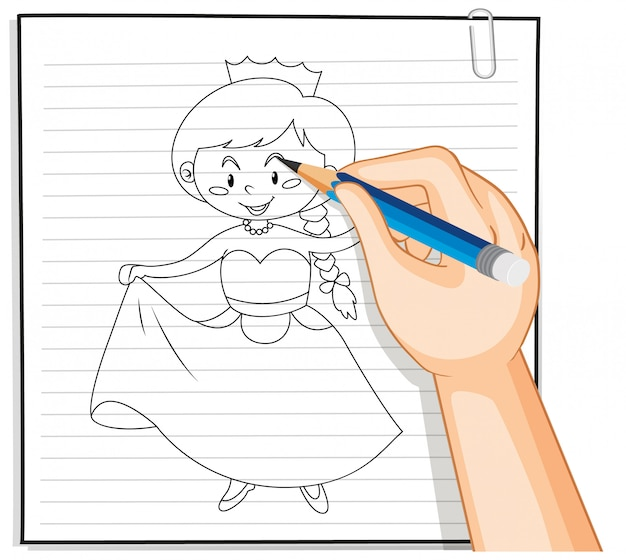 Рука рисунок наброски мультфильма принцесса Бесплатные векторы