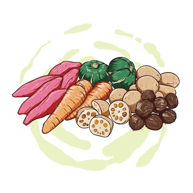 Ручной рисунок сладкого картофеля, картофеля, тыквы и моркови Premium векторы