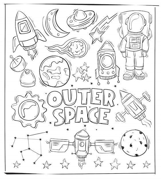 Hand Drawing Outer Space Icon And Symbol Vector Premium Download
