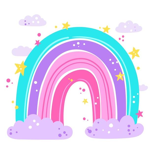 Ручной рисунок радуги дизайн Бесплатные векторы