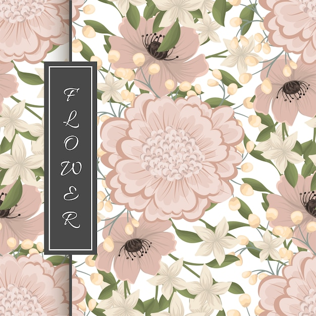 Hand drawing seamless floral pattern Free Vector