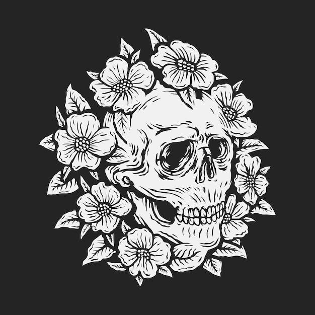 バラの花のベクトル図に囲まれた手描きの頭蓋骨 Premiumベクター