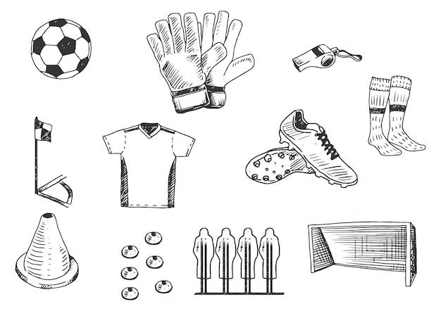 Hand drawing soccer training equipment illustration set. Premium Vector