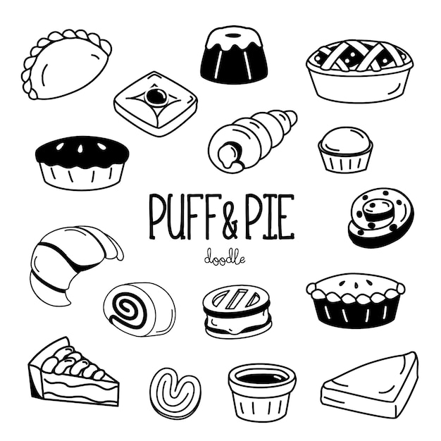 Hand drawing styles for puff and pie Premium Vector
