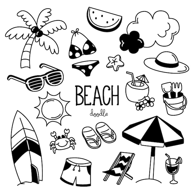 Hand drawing styles with beach items. doodle beach. Premium Vector
