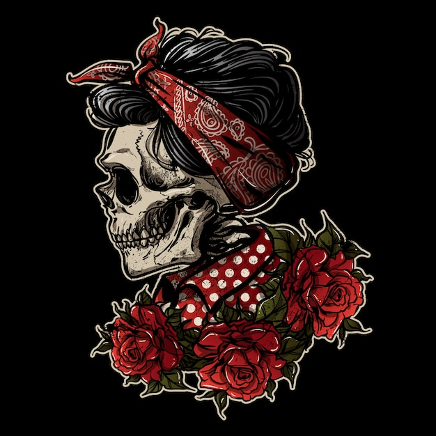 hand drawing sugarskull girl with rose vector premium download