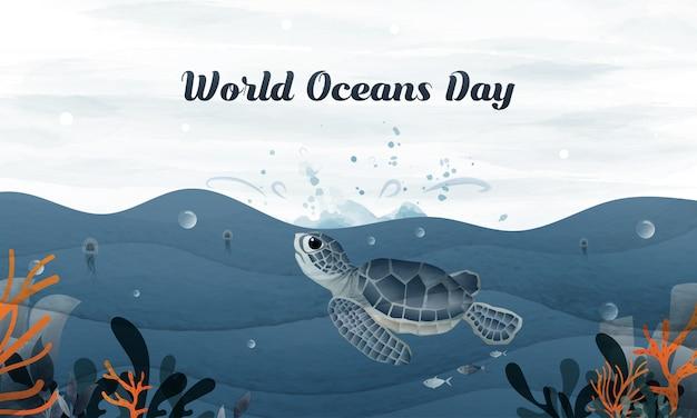 手描きのカメは、世界海の日の空にジャンプします。 Premiumベクター
