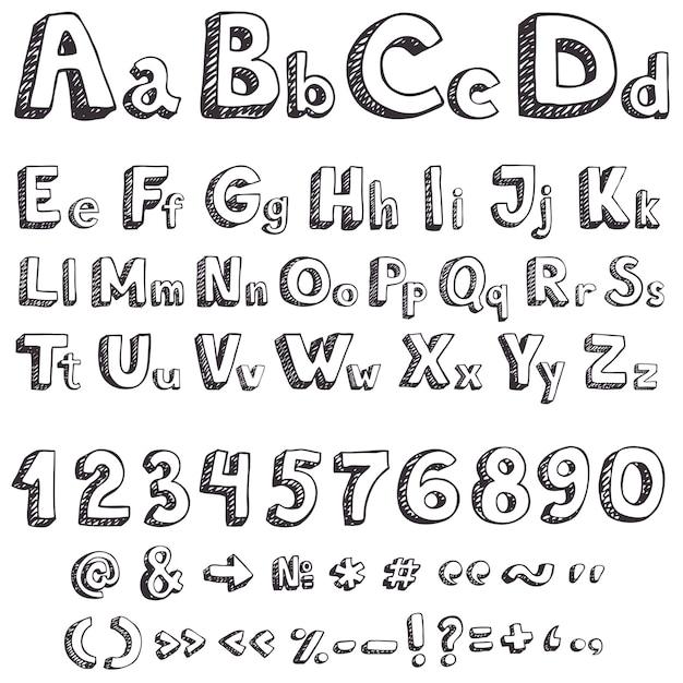 Рука рисования векторных букв Бесплатные векторы