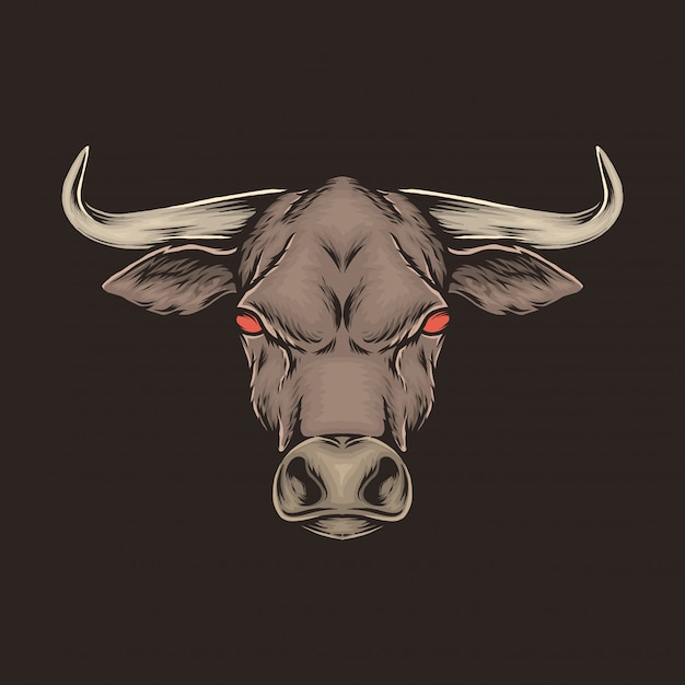 Hand drawing vintage bull head vector illustration Premium Vector