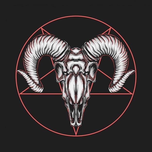手描きのヴィンテージの悪魔のようなヤギの頭のベクトル図 Premiumベクター