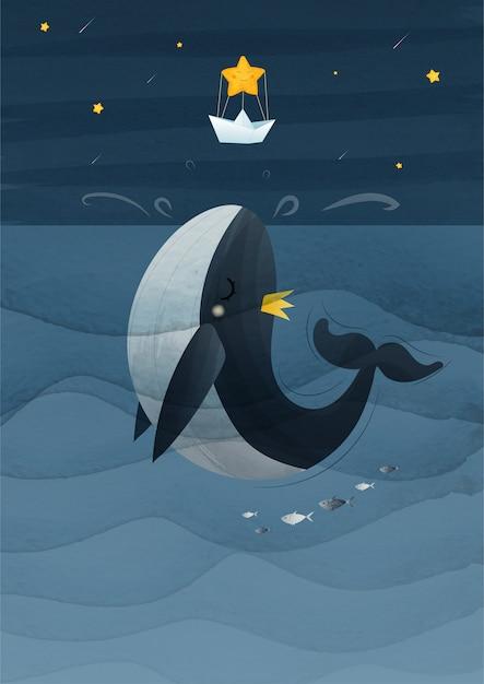 手描きのヴィンテージクジラは星の図にジャンプします。 eps10 Premiumベクター
