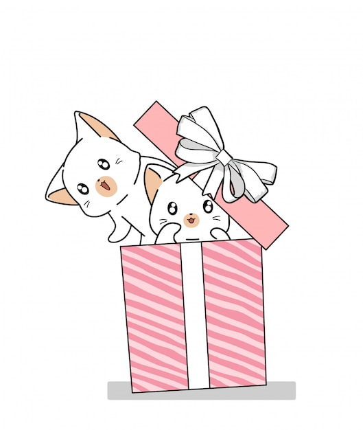 Hand drawn 2 kawaii cats in the pink gift box Premium Vector