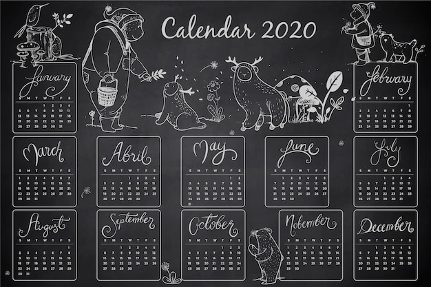 Hand Drawn 2020 Calendar Template Free Vector