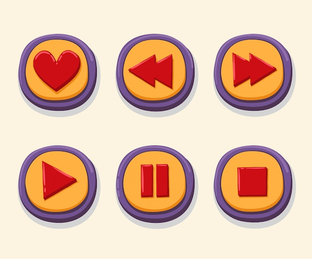 Hand drawn 3d web buttons for music player. Premium Vector
