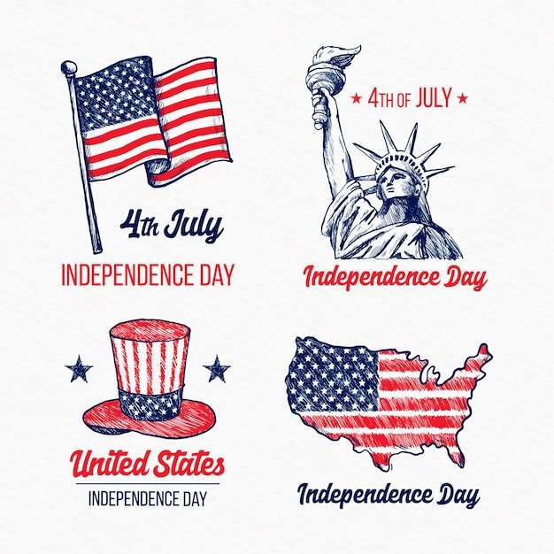Hand drawn 4th of july independence day labels Free Vector