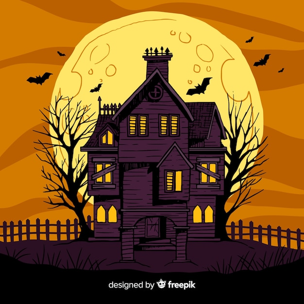 Hand drawn abandoned halloween house Free Vector