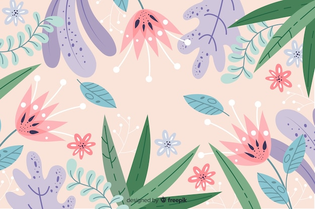 Hand drawn abstract background with leaves and flowers Free Vector