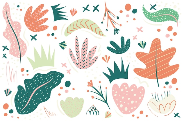Hand drawn abstract background with organic shapes Free Vector