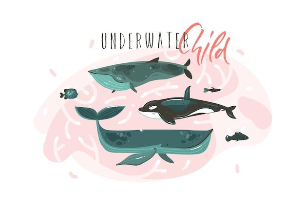 手描き抽象漫画グラフィック夏時間水中イラストコレクション白い背景で隔離の美容大きなクジラキャラクター入り。 Premiumベクター