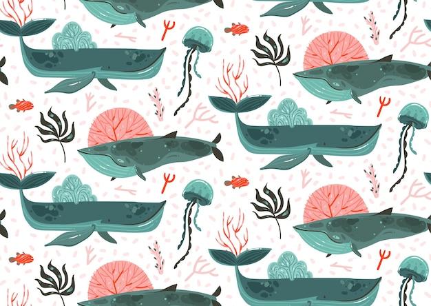 手描き抽象漫画グラフィック夏時間水中海底イラストシームレスパターンのサンゴ礁、美クジラ、白い背景で隔離の海藻。 Premiumベクター