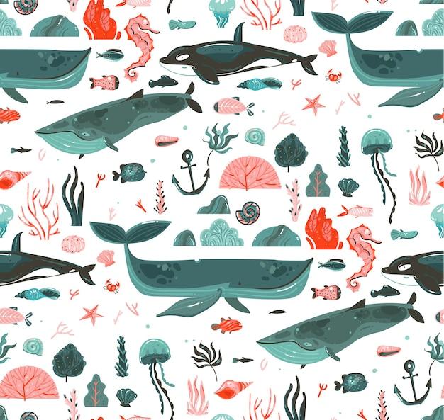 手描き抽象漫画グラフィック夏時間水中海底イラストシームレスパターンのサンゴ礁、クジラ、シャチは、白い背景で隔離。 Premiumベクター