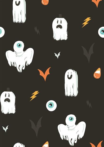 Вручите вычерченному абстрактному шаржу счастливую картину собрания иллюстраций хеллоуина безшовную с различными смешными элементами украшения призраков на предпосылке. Premium векторы