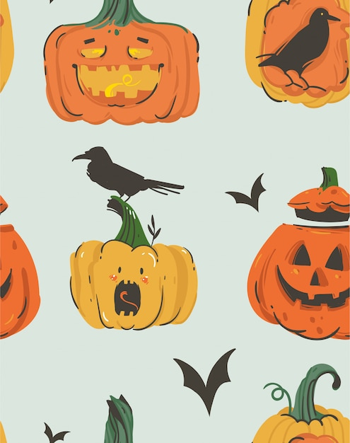 Hand drawn  abstract cartoon happy halloween illustrations seamless pattern with pumpkins emoji horned lanterns monsters,bats and ravens  on grey background. Premium Vector