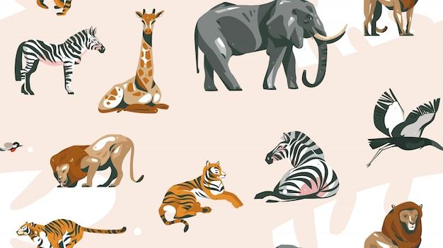 파스텔 컬러 배경에 사파리 동물들과 함께 손으로 그린 추상 만화 현대 아프리카 사파리 콜라주 일러스트 아트 원활한 패턴 프리미엄 벡터