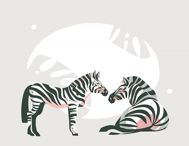 パステルカラーの背景にサファリ動物と手描き抽象漫画現代アフリカサファリコラージュイラストアート Premiumベクター