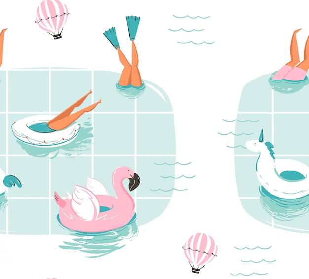 Ручной обращается абстрактный мультфильм летнее время весело мультфильм бесшовные модели с плавательными людьми в бассейне с воздушными шарами на белом фоне Premium векторы