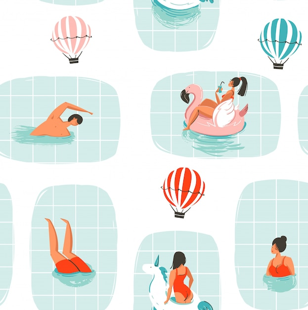 Hand drawn  abstract cartoon summer time fun illustration seamless pattern with swimming people in swimming pool with hot air balloons  on white background Premium Vector