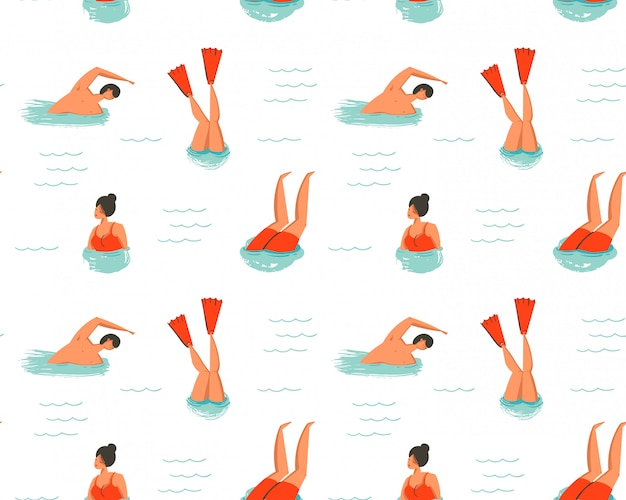 Hand drawn  abstract cartoon summer time fun illustration seamless pattern with swimming people  on white background Premium Vector