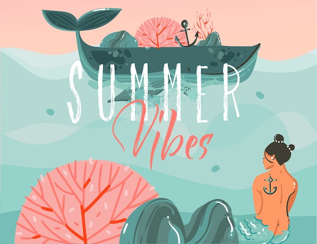 手描きの抽象的な漫画夏時間グラフィックイラストアートの背景に海のビーチの風景、大きなクジラ、日没のシーン、人魚の女の子 Premiumベクター