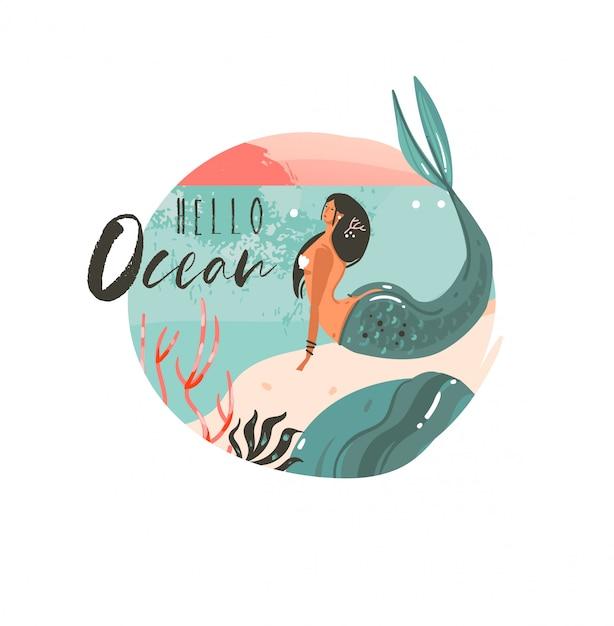 Ручной обращается абстрактный мультфильм летнее время графические иллюстрации искусство шаблон фона логотип с пейзажем пляжа океана, закатом и красавицей русалка девушка с цитатой типографии hello ocean Premium векторы