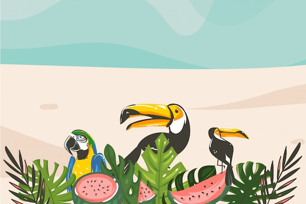 手描き抽象漫画夏の時間のグラフィックイラストアートテンプレートの背景に海のビーチの風景、熱帯のヤシの木、エキゾチックなオオハシ鳥 Premiumベクター