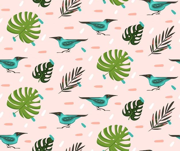 手描き抽象漫画夏時間グラフィックイラストエキゾチックな熱帯のヤシと芸術的なシームレスパターンの葉ピンクのパステル調の背景に緑のハニークリーパー鳥 Premiumベクター