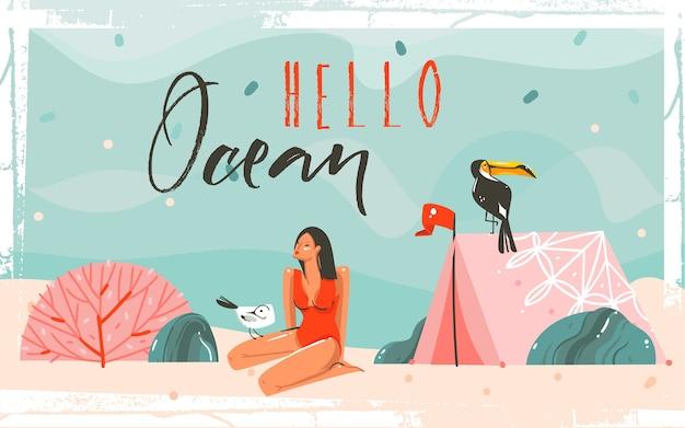 海砂のビーチ、青い波、オオハシ鳥、女の子キャラクター、ハローオーシャンタイポグラフィの引用と手描き抽象漫画夏時間グラフィックイラスト背景シーン。 Premiumベクター