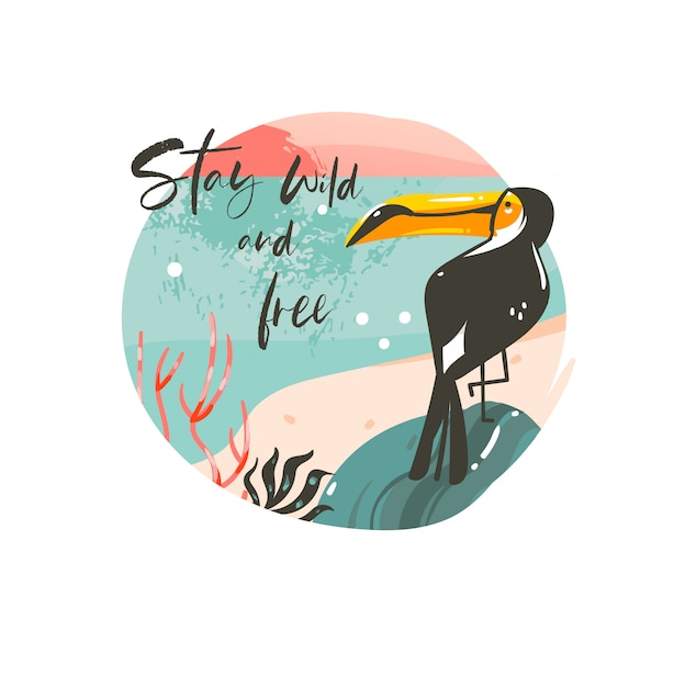 Hand drawn  abstract cartoon summer time graphic illustrations template background badge  with ocean beach landscape,sunset and beauty toucan bird with stay wild and free typography text Premium Vector