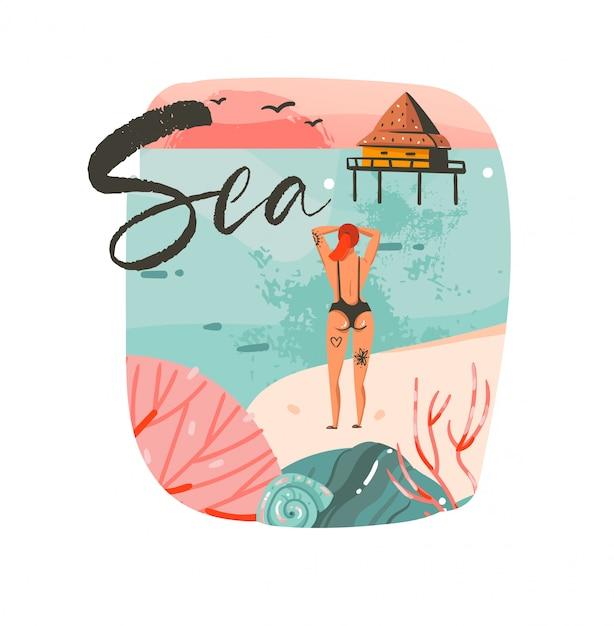 Ручной обращается абстрактный мультфильм летнее время графические иллюстрации шаблон фона логотип с пейзажем пляжа океана, домик на пляже, розовый закат и красавица девушка с текстом типографии моря Premium векторы
