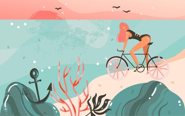 手描きの抽象的な漫画夏時間グラフィックイラストテンプレート背景に海のビーチの風景、日没、自転車の美しさの少女とあなたのテキストのコピースペース場所 Premiumベクター