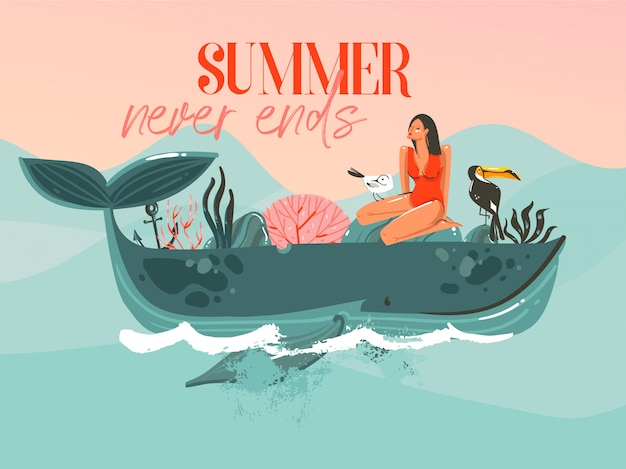 Hand drawn  abstract cartoon summer time graphic illustrations template card with girl,whale on blue waves and modern typography summer never ends  on pink sunset background Premium Vector