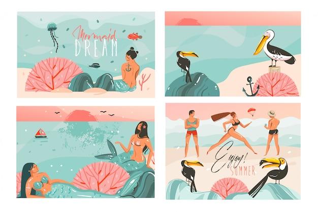 手描き抽象漫画夏時間イラストカードテンプレートコレクションセットビーチの人々、人魚とクジラ、夕日と熱帯の鳥の白い背景の上 Premiumベクター